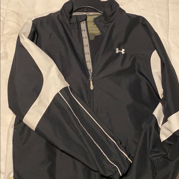 Black and white under armor track jacket